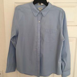 LL Bean Oxford Shirt,Long-Sleeve Relaxed Fit Plaid